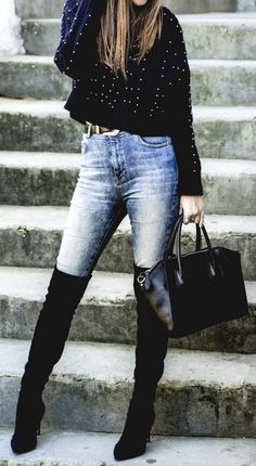#thanksgiving #outfits Studded Sweater // Skinny Jeans // Black Knee High Boots // Leather Tote Bag #sweatersoutfit #kneehighboots