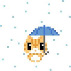 天気実況大阪雨 #pixelart #cat #weather #osaka #ドット絵 #ネコ #天気 #大阪
