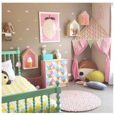 How cute is the little corner tent reading nook?! Could do a fort in grey for a boys room.