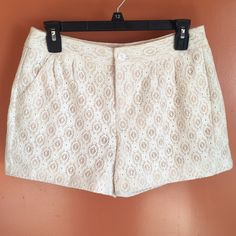 LC Lauren Conrad Crocheted Lace Shorts LC Lauren Conrad lace crocheted shorts. Two pockets in the front and one in the back (not useable) LC Lauren Conrad Shorts