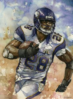 Adrian Peterson watercolor by Michael Pattison   Flickr - Photo Sharing!