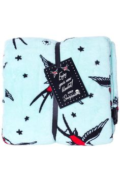 Aqua Sparrow Throw Blanket