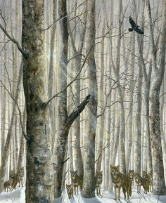 Hunters of the Woods, 2010 by Robert Bissel ; wolves ; wolf ; trees; forest