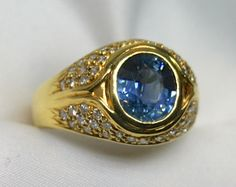Estate Ladies Blue Sapphire 18K Yellow Gold Ring adorned with Diamonds from gondwanalandopals on Ruby Lane
