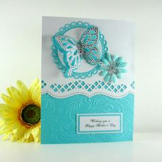 Mothers day card, elegant butterfly card, mothers day gift, embossed card, aqua for mom, mother, wife, daughter. $ 5.75, via Etsy.