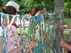 Braided Prayers - Set out colorful strips of cloth and a length of clothesline tied between to trees or posts. Invite worshippers to take three cloth strips to represent three people or things they want to pray about. Tie the ends of the three strips to the clothesline and then braid the three together, all the while meditating and praying on the selected pray concerns. Encourage participants to take note of the braided cloths left by others and to consider their prayers as well.