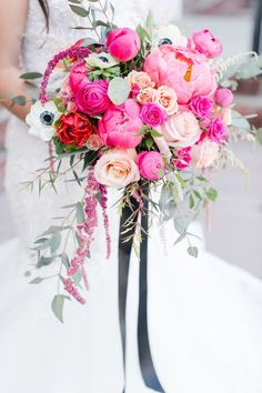 Hot Pink Peony Wedding Bouquets Ruffly, lush and decadent - there's a reason peony wedding bouquets are one of the darlings of the wedding world. In fact, I've yet to meet a peony bouquet that I haven't fallen in lust with! Find inspiration for your Pink Flower Bouquet, Peony Bouquet Wedding, Bridal Bouquet Pink, Summer Wedding Bouquets, White Wedding Flowers, Bridal Flowers, Purple Bouquets, Bridesmaid Bouquets, Peonies Bouquet
