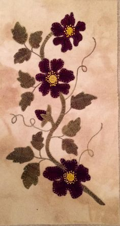 Wishing for Spring by Cricket Street Wool … Wool Applique Patterns, Felt Applique, Applique Quilts, Felted Wool Crafts, Wool Quilts, Wool Embroidery, Penny Rugs, Small Quilts, Textiles
