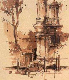 Venice sketch by Neil Watson from his book Seeking Venice (like the idea of using ink and burt umber watercolor tones for sketching on the go, get little watercolor dish with just 2-3 colors)
