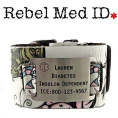 Medical ID Alert Bracelets, stylish bracelets to alert the medics in an emergency, Free Engraving - Item# R302- Tattoo Art Leather Medical Band - White