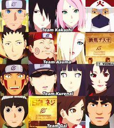 Older versions of Konoha's Teams ♥♥♥ Team 7-Kakashi, Naruto, Sasuke, Sakura ♥ Team 10-Shikamaru, Ino, Choji-Asuma's missing :( Team 8-Kurenai, Hinata, Kiba, Shino ♥ Team Guy-Guy, Lee, TenTen- Neji's missing :(
