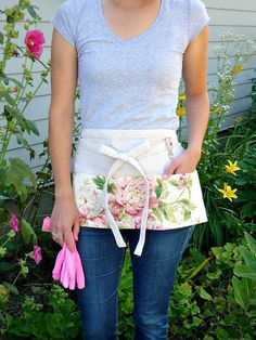 Shabby Cottage Chic Half Apron Pink Roses  by greenwillowpond