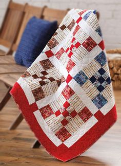 Via Air Mail - nine patch red white and blue patriotic quilt of valor love red, white/cream ,blue quilts Quilt Baby, Nine Patch Quilt, Patriotic Quilts, Quilt Of Valor, Fabric Stamping, Traditional Quilts, Scrappy Quilts, Quilt Tutorials, Square Quilt