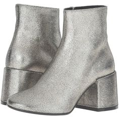 MM6 Maison Margiela Crackle Metallic Bootie (Platinum Laminated... ($540) ❤ liked on Polyvore featuring shoes, boots, ankle booties, ankle boots, chunky heel booties, leather booties, leather ankle boots and leather platform booties