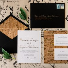This organically and edgy inspired invitation brings in compliments of cork and gold foil with a black envelope to dramatize the look