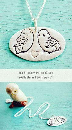 Handmade owl necklace made of eco-friendly sterling silver Illustration by Susie Ghahremani / boygirlparty®