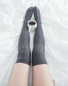 Stripe Knitted Knee High Knee Socks - Dark Grey  Free Size   Photo by Sayu (abidings)