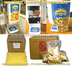 Nacho cheese dispenser rental with everything you need for a ''spicy event! Sno Cones, Nacho Cheese, Party Party, Nachos, Popcorn Maker, Hot Dogs, Party Supplies, Spicy, Good Food