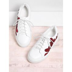 SheIn(sheinside) Sequin Flower Lace Up Sneakers ($38) ❤ liked on Polyvore featuring shoes, sneakers, white, blossom shoes, laced up shoes, flower shoes, sequin sneakers and round toe sneakers