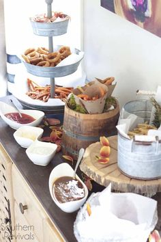 A french fry bar - what a fantastic food bar idea! I would have loved this for our wedding!