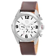 metallic leather The crisp white watch face features bold black numbers and sleek cut-out hands in silver-toned metal. The three smaller dials include a 24 hour hand, a day hand, and Boys Watches, Men's Watches, Welcome To The Family, Grey Leather, Metallic Leather, Danish Design, Watch Brands, Daniel Wellington, Black And Brown