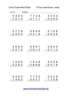 Colección de operaciones aritméticas básicas sumas y diferencias