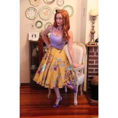 #whatiwore Skirt- @modcloth  Dress/top #jennydress @pinupgirlclothing  Shoes- thrifted  #swingskirt #mustard #floral #pinup #pinupstyle #pinupfashion #ootd #ottd #purpleshoes # #retro #retrostyle #retrofashion #pinuppassion #jennyjuly #jennydress