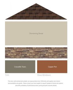 New Ideas for house exterior paint schemes brown roofs Exterior Paint Combinations, Exterior Color Palette, House Exterior Color Schemes, Exterior Paint Colors For House, Paint Colors For Home, Exterior Colors, Color Combinations, Paint Colours, Vinyl Siding Colors