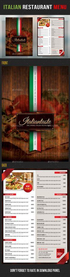 Italian food menu flyer and