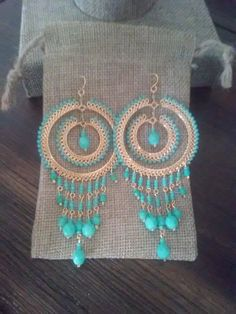 Turquoise Chandelier Earrings Turquoise Fashion di TezzoroDesigns