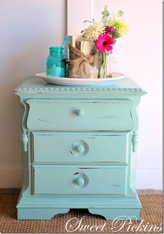 i painted my dresser this same color, like it distressed.