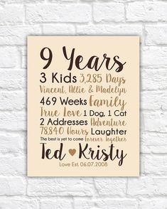 9 years together - Cotton Gift Print | 9th Anniversary Gifts | 9 ...