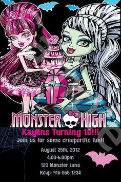 Custom Monster High Birthday Bash Invite. $10.00, via Etsy. Monster High Invitations, Dinosaur Party Invitations, Birthday Invitation Templates, Girls Birthday Party Themes, Spa Birthday Parties, Birthday Bash, Birthday Ideas, Monster High Birthday, Monster High Party