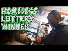 video of a homeless man being given a winning lottery ticket