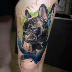 Puppy 😻 #inkedmagazine #tattoos #tattooartists #tattooartistmagazine #realistictattoo #tattoomagazine #skindeepmagazine #inkedmag.com… Tasteful Tattoos, Dainty Tattoos, Modern Tattoos, Sweet Tattoos, French Bulldog Drawing, French Bulldog Tattoo, Skull Tattoos, Dog Tattoos, Tatoos