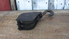 Old Iron Pulley Wheel Farm Iron Double Wheel and Hook  Metal Antique Wheel Ornate Iron on Etsy, $28.00