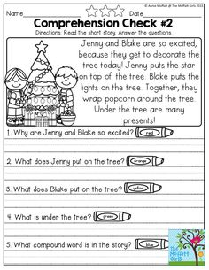 Reading Comprehension Checks and plenty of other NO PREP Packets for the month of December! Holiday fun while teaching core concepts for Preschool through Third Grade!