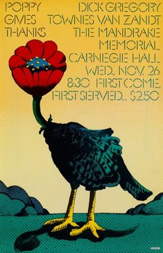 """Poppy-Head Turkey, Carnegie Hall poster by Milton Glaser, 1968. """"A rather strange 1960s poster with a surreal intent combining Poppy, a music company, and the idea of Thanksgiving"""""""