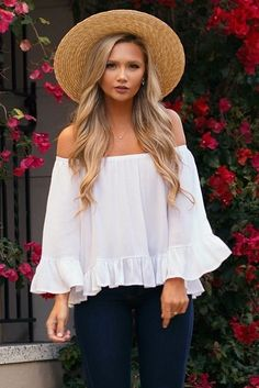 Hometown Sweetheart White Off-The-Shoulder Top! A stretchy elastic neckline sits below the neck or at the shoulder, while lightweight gauzy fabric swings down to an adorable cropped hem accented with a single ruffle. Short sleeves match the bodice with a flared finish!