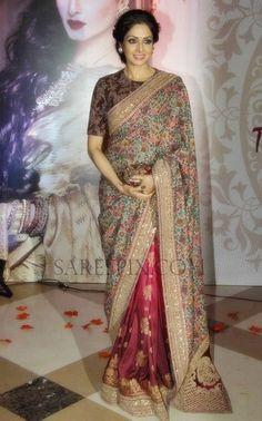 Sridevi Kapoor in Sabyasachi Floral Half and Half Saree. 3 rd national Yash Chopra Memorial Award 2016 in Mumbai Sridevi graceful appear. Pakistani Dresses, Indian Sarees, Indian Dresses, Indian Outfits, Indian Clothes, Pakistani Bridal, Indian Bridal, Sabyasachi Sarees, Bollywood Saree