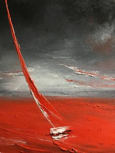 Sailboat Painting Storm On Canvas Small Abstract Seascape - #painting #oil #oilpaintin #art
