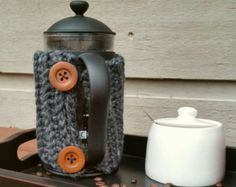 Ribbed Hand Crocheted French Press Cozy With Wooden Buttons -Multiple Colors Available 8 or 12 cup French Press Made to Order