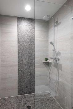 Walk-In Shower With Herringbone Mosaic Tile Walk In Bathroom Showers, Tile Walk In Shower, Master Bathroom Shower, Shower Floor Tile, Bathroom Wall Tiles, Bathrooms, Shower Accent Tile, Mosaic Shower Tile, Shower Tile Designs