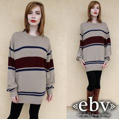 Oversized Sweater Vintage Le Tigre Striped Pullover by shopEBV, $54.00