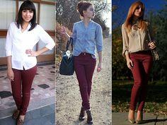 Como Usar: Burgundy jeans