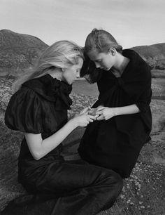 """The Nordic Light"". Milana Bogolepova & Sasha Gachulincova by Yelena Yemchuk for Vogue Nippon, October 2006"