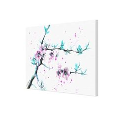Spring flowers blossoms pink Wrapped canvas Prints