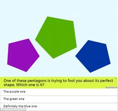 A new quiz aims to distinguish perfectionists from non-perfectionists with a series of fiendishly difficult picture puzzles. The test from Playbuzz tasks users with spotting the odd shape out in a series of line-ups. The Odd Ones Out, Picture Puzzles, Weird Shapes, Playbuzz, Brain Teasers, Pentagon, Riddles, Quizzes, The Fool