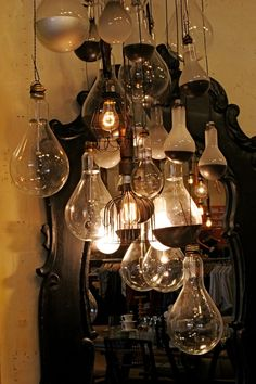 a cluster like this as an industrial chandelier.spray the bulb housing metallic colors - (low watt bulbs - cords bound together and plugged into power strips hidden behind furniture? Lamp Light, Light Up, My Dream Home, Decoration, Light Fixtures, Sweet Home, Glow, Ceiling Lights, Interior Design