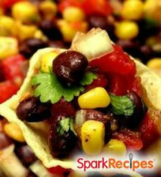 15-Minute Black Bean and Corn Salsa: This easy, delicious recipe will be your go-to dish for summer potlucks and a quick dinner seasoning! | via @SparkPeople #food #appetizer #healthy